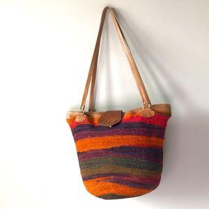 Vintage Sisal and Leather Market Bag